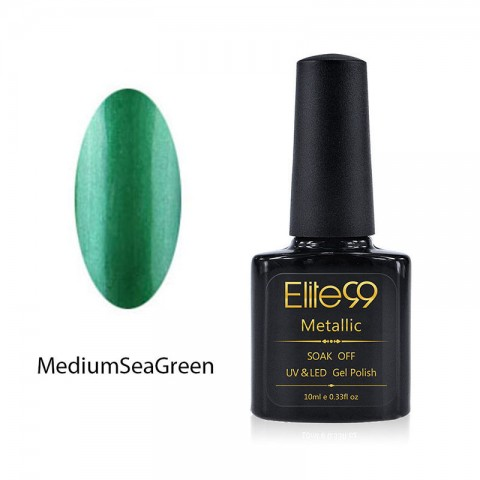 Metallic Gel Nail Polish Soak Off UV LED 5907 Medium Sea Green