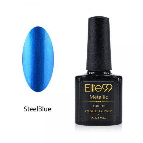 Metallic Gel Nail Polish Soak Off UV LED 5908 Steel Blue