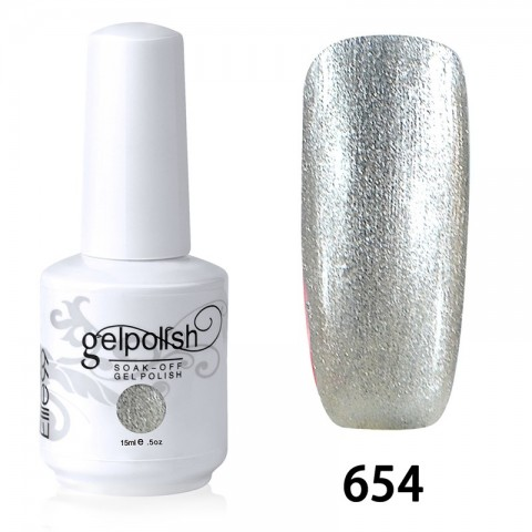 15ML SOAK OFF NAIL ART GEL POLISH SILVER(654)